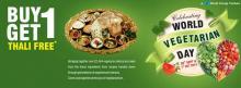 Celebrating World Vegetarian Day, Buy 1 Get 1 Thali Free offer, Rajdhani Thali, 30 September & 1 October 2013